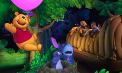 Guests Enjoying The Many Adventures of Winnie the Pooh Attraction