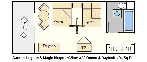 Room Layout - Polynesian Resort