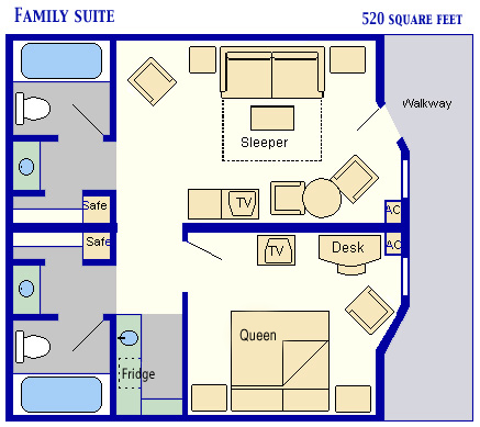 Family Suite Room Layout - All Star Music Resort