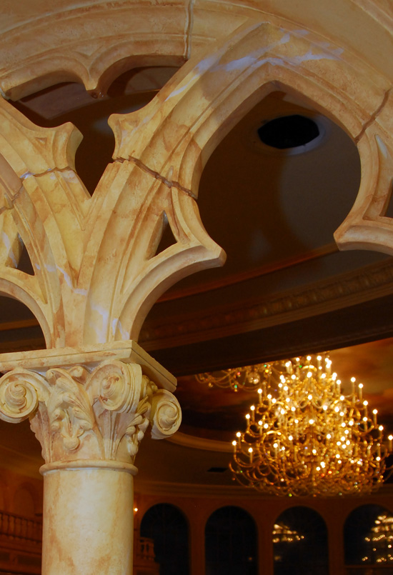 Intricate columns at the doorway to Be Our Guest Restaurant