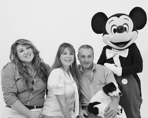 Mickey with Lily and family
