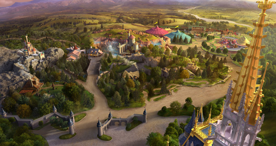 view of New Fantasyland in detail from the very top turret of Cinderella's Castle