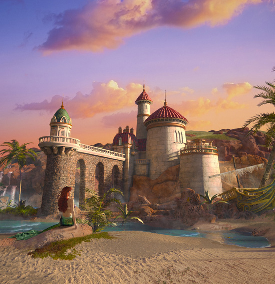 Ariel gazes at Prince Eric's Castle while the tide rushes in
