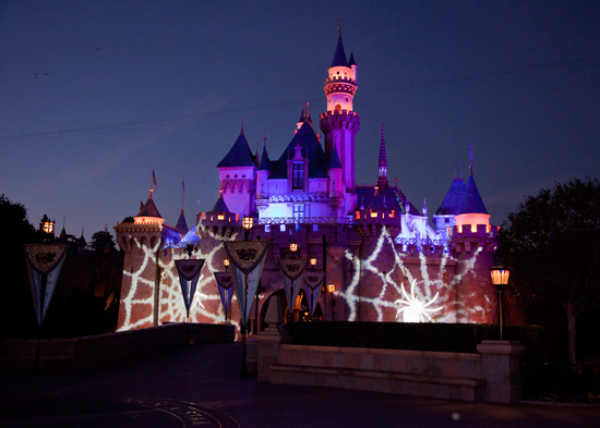 Sleeping Beauty Castle during Mickey's Halloween Party at Disneyland park