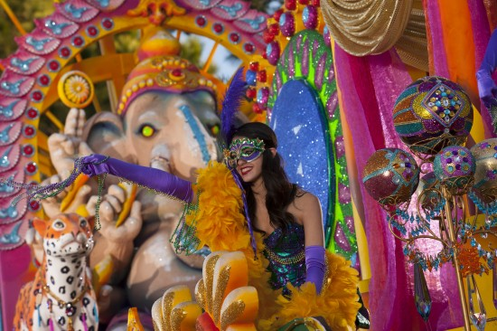 """The new """"Elegance of India"""" float at Universal Orlando's 2013 Mardi Gras parade celebrates the magic of Bollywood, complete with exotic fabrics and hypnotic dances of color and light."""