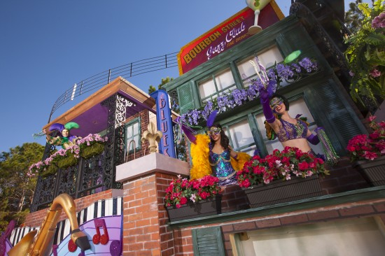"""With a French Quarter-style balcony and jazz musicians galore, the newly-enhanced """"Music of New Orleans"""" float showcases the musical impact the Big Easy."""