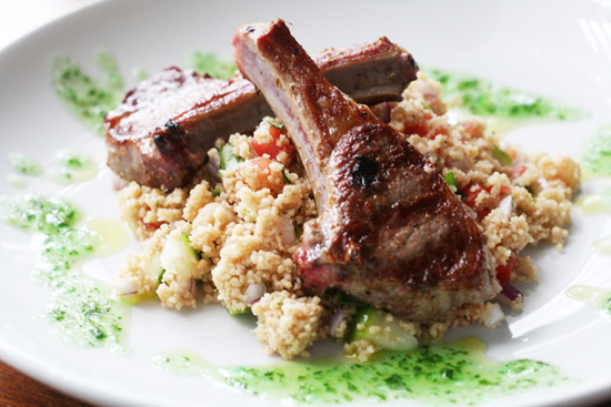 The recipe for Disney Cruise Line's Marinated Lamb Chops with Couscous Tabbouleh and Mint Mojo