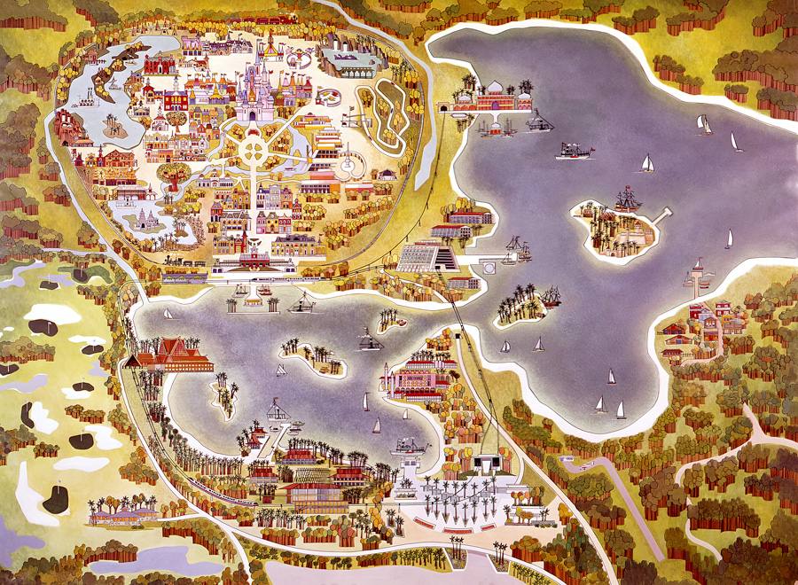 "Vintage Walt Disney World Map and three ""future"" resorts: the Asian, Venetian, and Persian. Resorts"