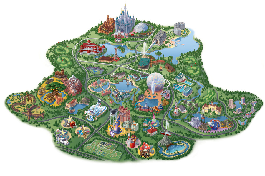 Current Walt Disney World Map with all 4 Theme Parks and Downtown Disney