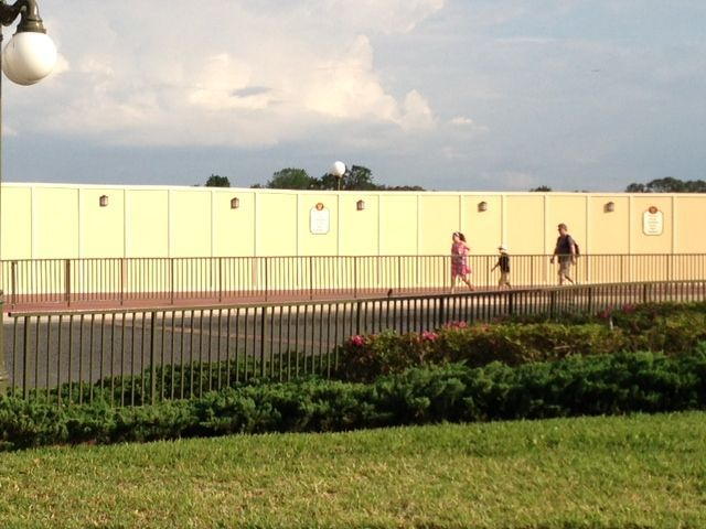 As we arrived at the Magic Kingdom, we discovered that a mammoth construction wall had been built between the bus stop and Seven Seas Lagoon.