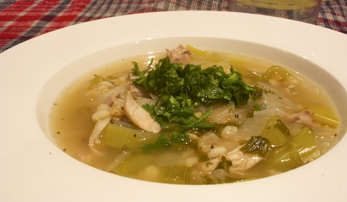 Cock-a-leekie soup is a Scottish soup dish of chicken and leeks in chicken stock.