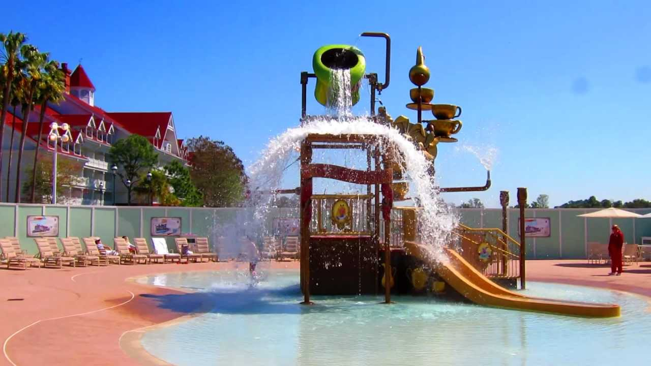 "Alice In Wonderland""-themed kids' water play area"
