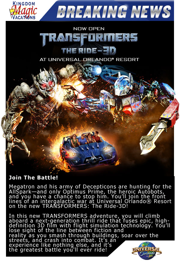 Join The Battle - Transformers: The Ride-3D is Now Open