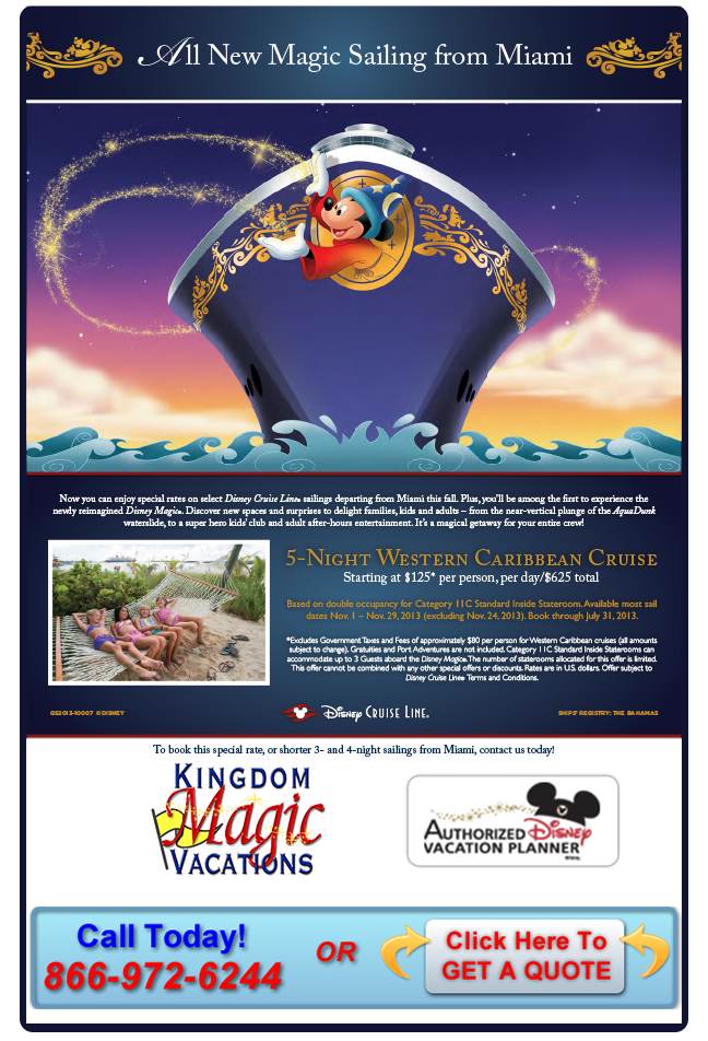 Contact Kingdom Magic to Book Your Disney Magic Cruise Today!