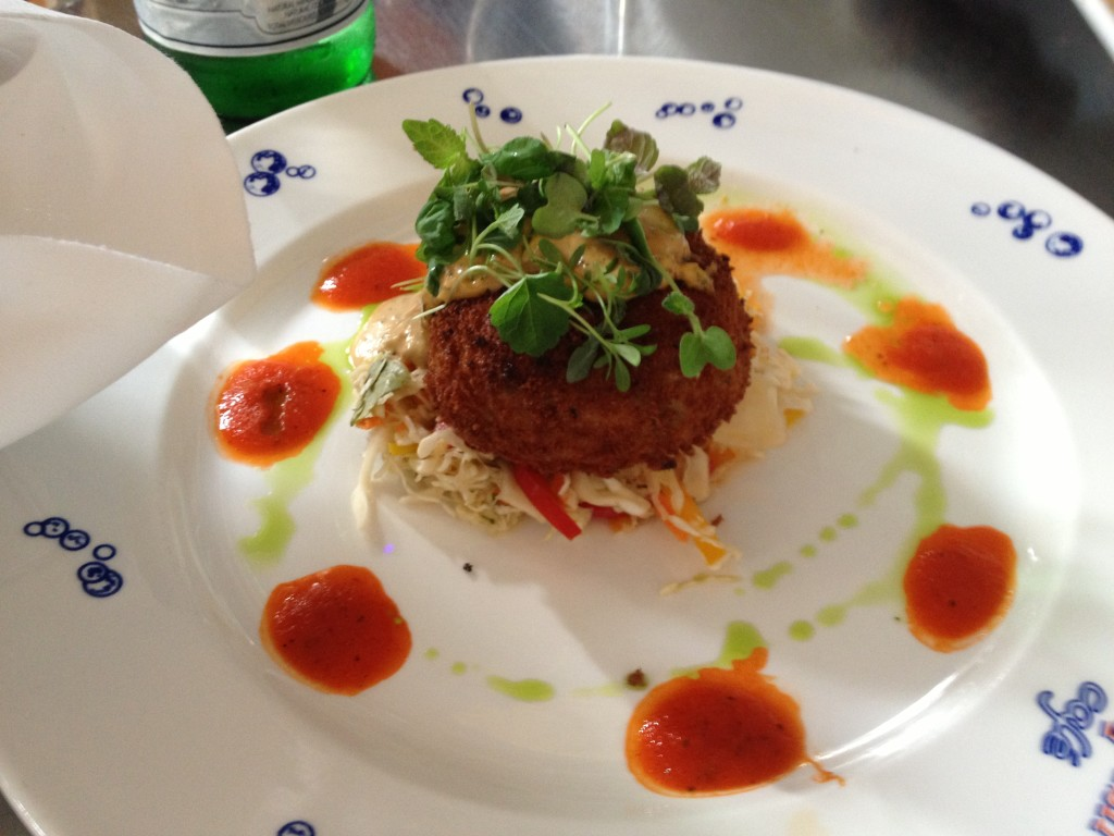 """Crispy Maine Coast Jonah Crab Cake"" - with Vegetable Slaw and Ancho Chile Rémoulade"