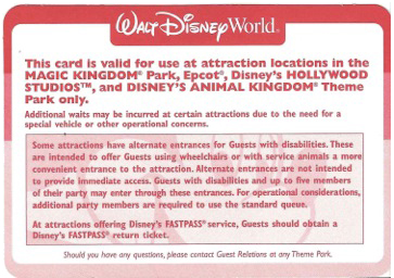 Guest Assistance Card Updates for Walt Disney World and Disneyland Resorts