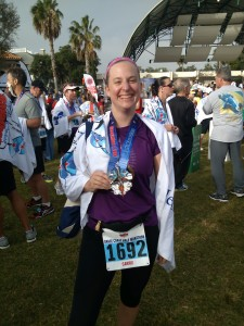 Sporting my new Space Coast Half Marathon Medal