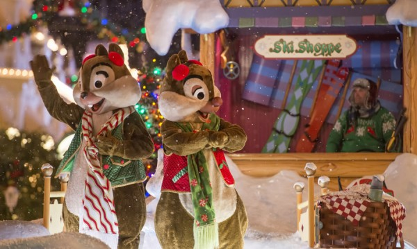 Chip and Dale throw snowballs